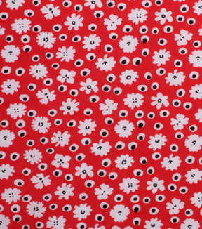 1930\u0027s Cotton Fabric 43\u0027\u0027-Floral & Double Dots on Red