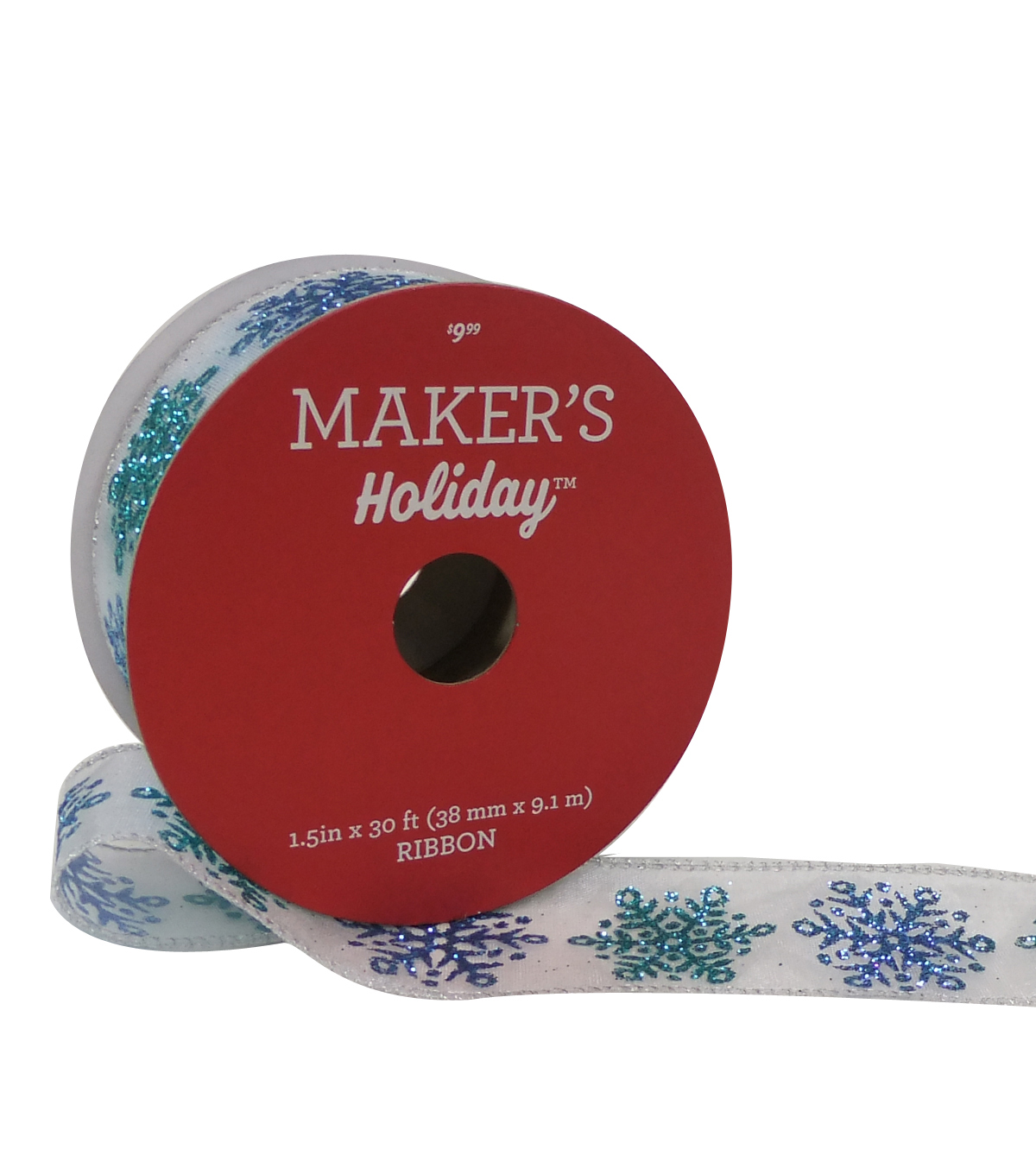 Maker\u0027s Holiday Christmas Ribbon 1.5\u0027\u0027x30\u0027-Blue & Aqua Glitter Snowflake