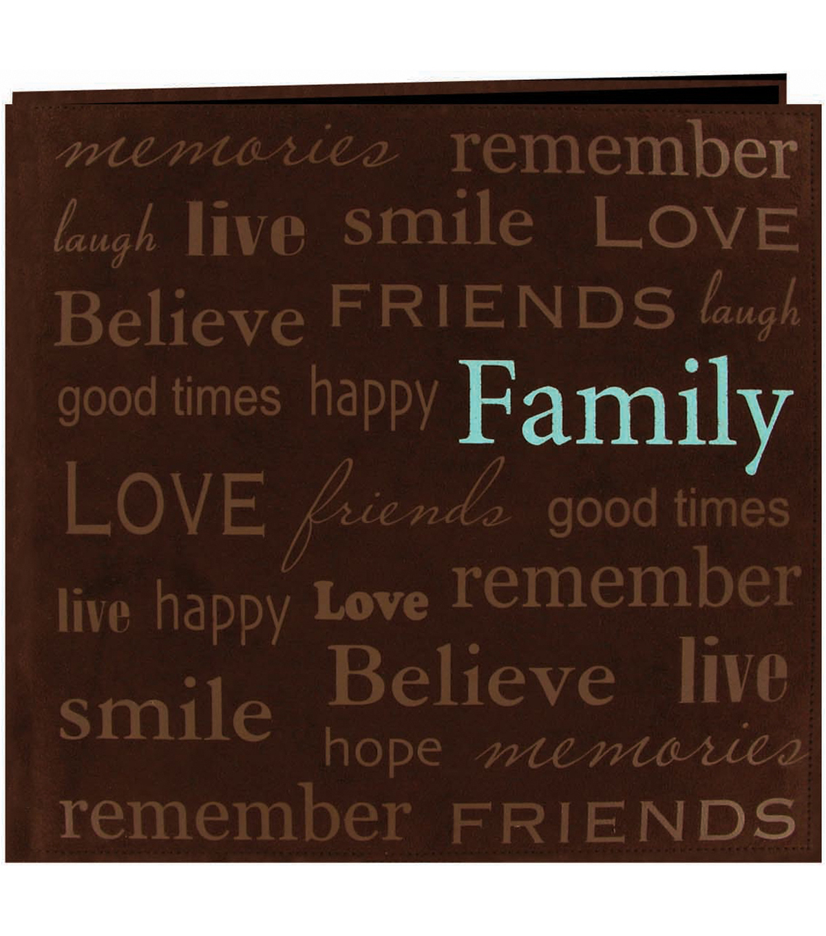 "Text Faux Suede Scrapbook 12""X12-Family"