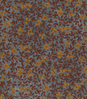 Vintage Cotton Fabric 43''-Tossed Leaves on Blue