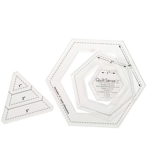 Quilt Sense Hexagons & 60 Degree Triangles-3 Sizes
