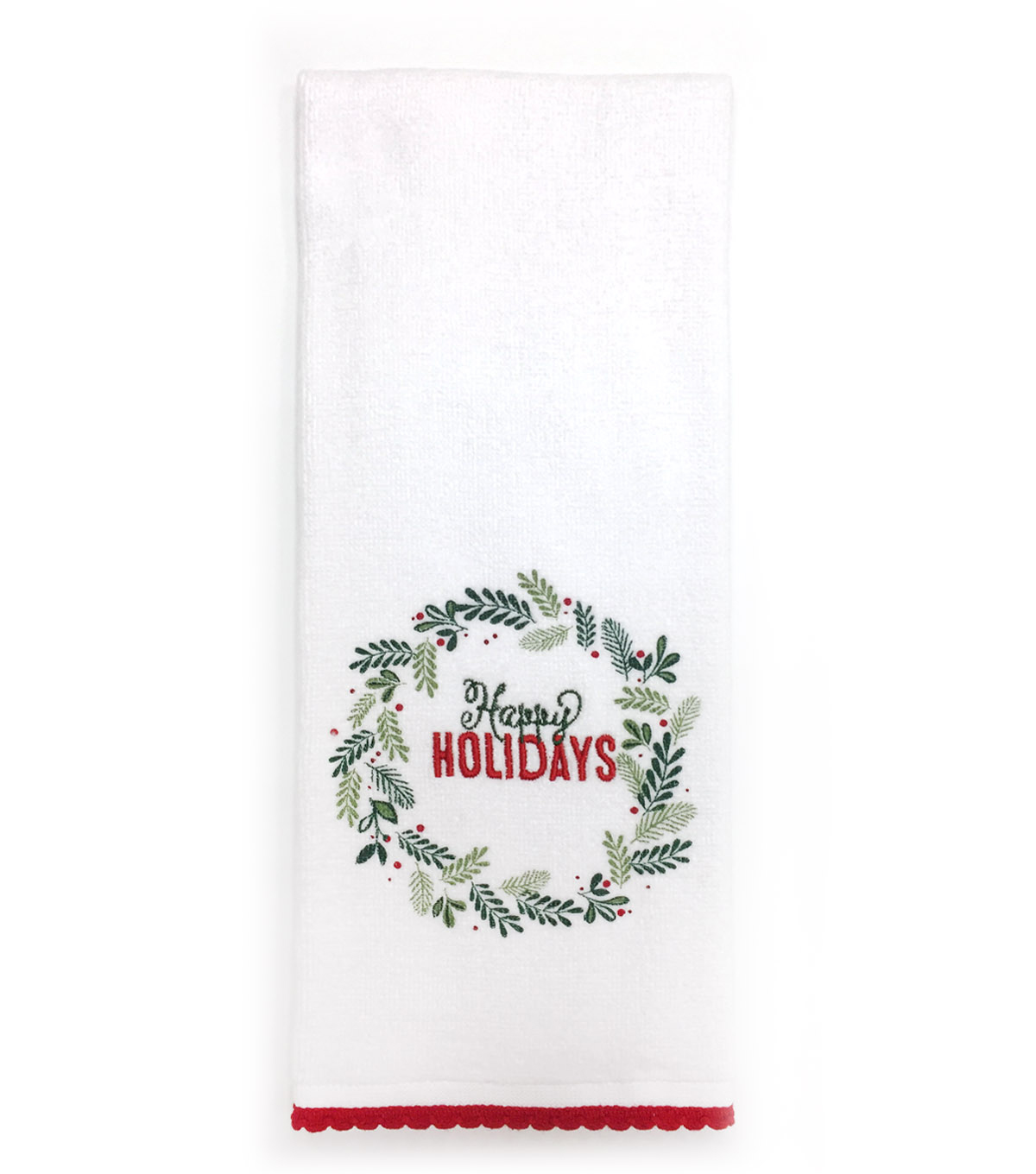 Maker\u0027s Holiday Christmas Velour Hand Towel-Wreath & Happy Holidays