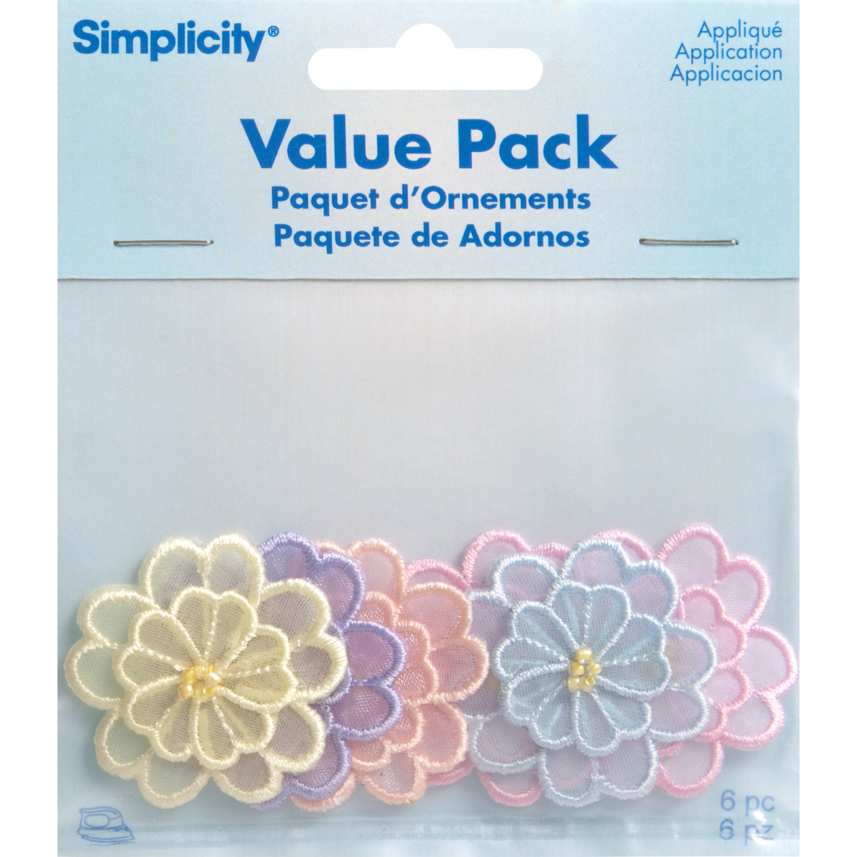 Assorted Sheer Flowers Iron On Applique Pack, 6 pcs