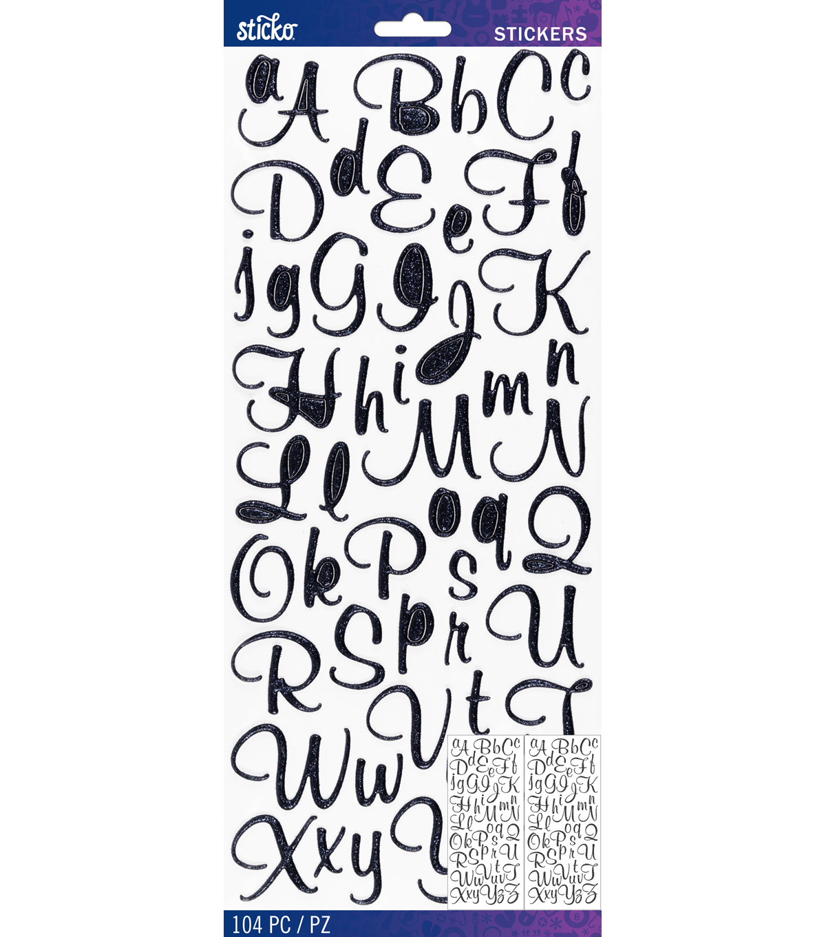Sticko® Mural Script Dimensional Glitter Alphabet Stickers-Black