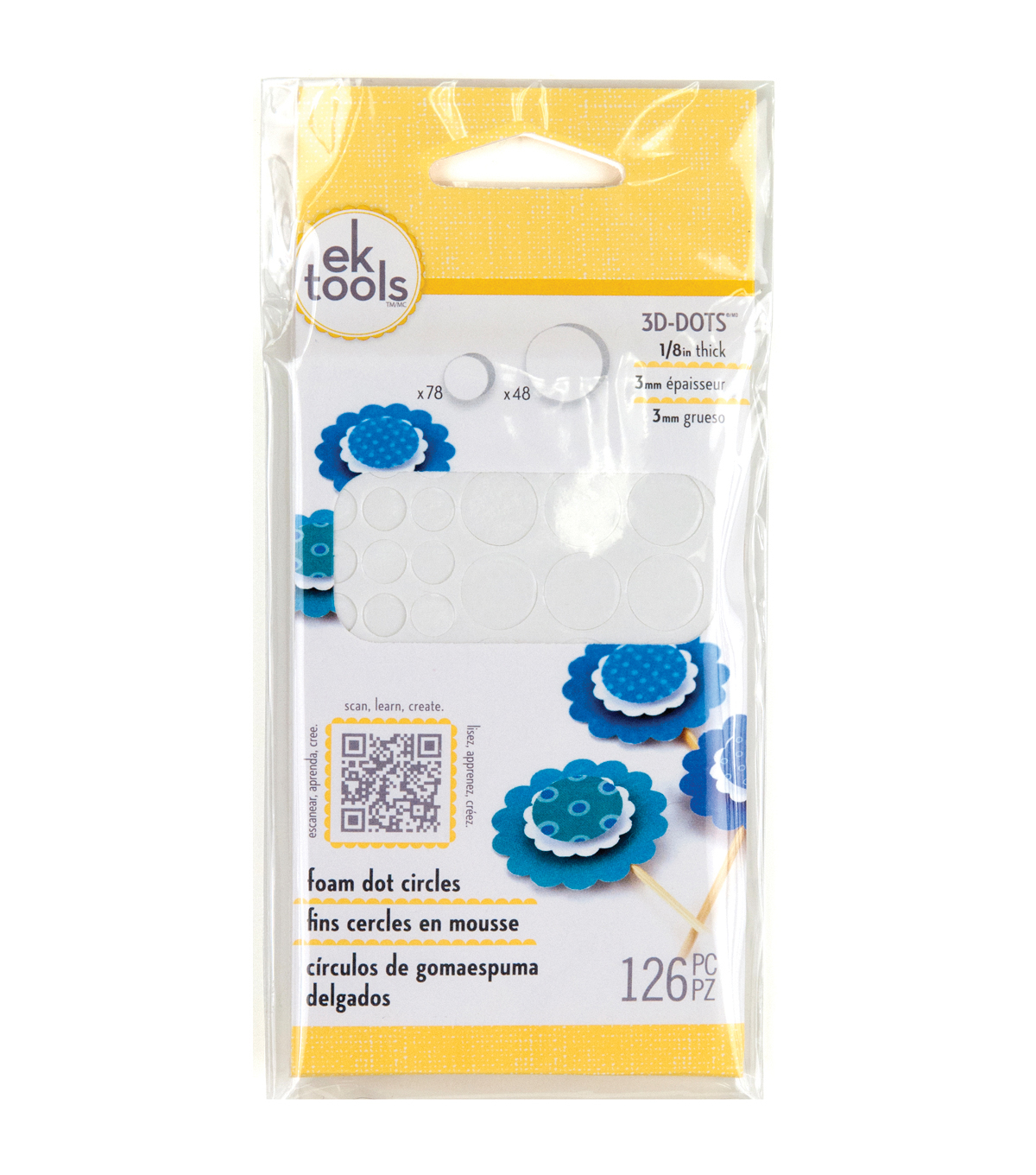 EK Success 3D Dots Foam Dot Adhesive Circles White