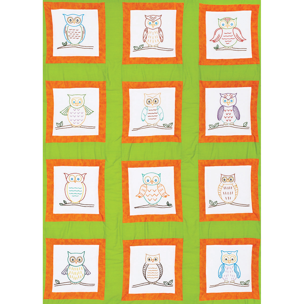 Themed Stamped White Quilt Blocks 9\u0022X9\u0022 12/Pkg-Owls