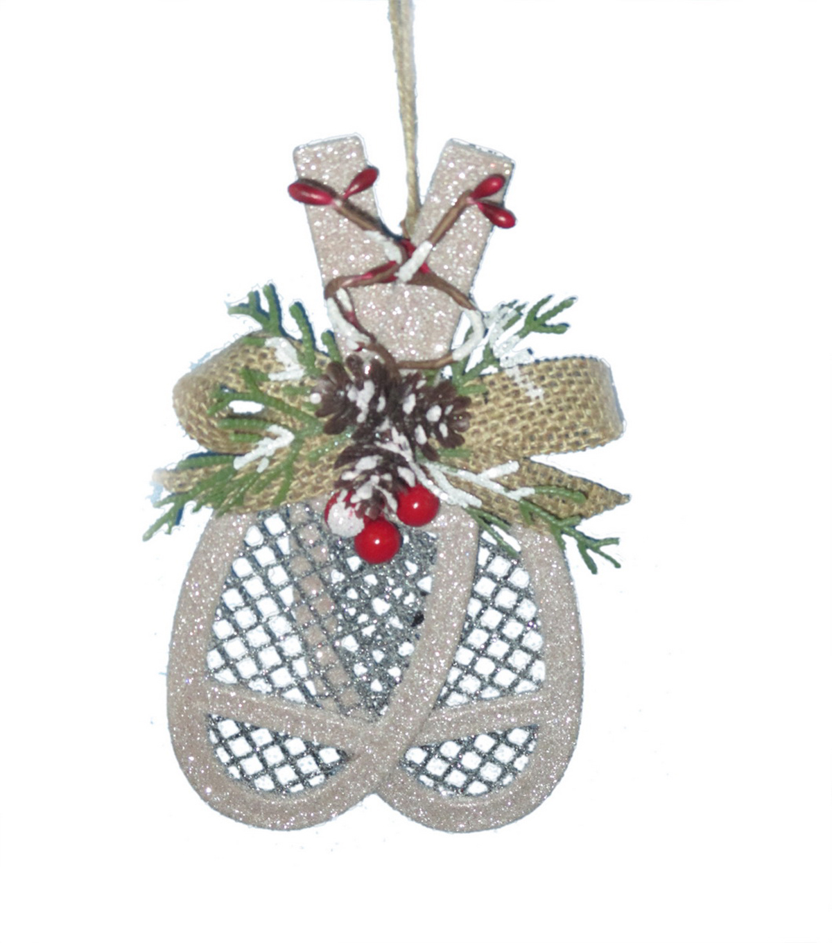 Maker\u0027s Holiday Christmas Glistening Pines Glitter Snow Shoes Ornament