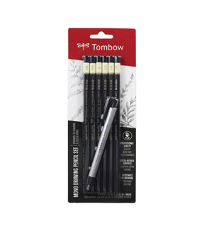 Tombow MONO Drawing Pencils 6/Pkg and Eraser Set-Black