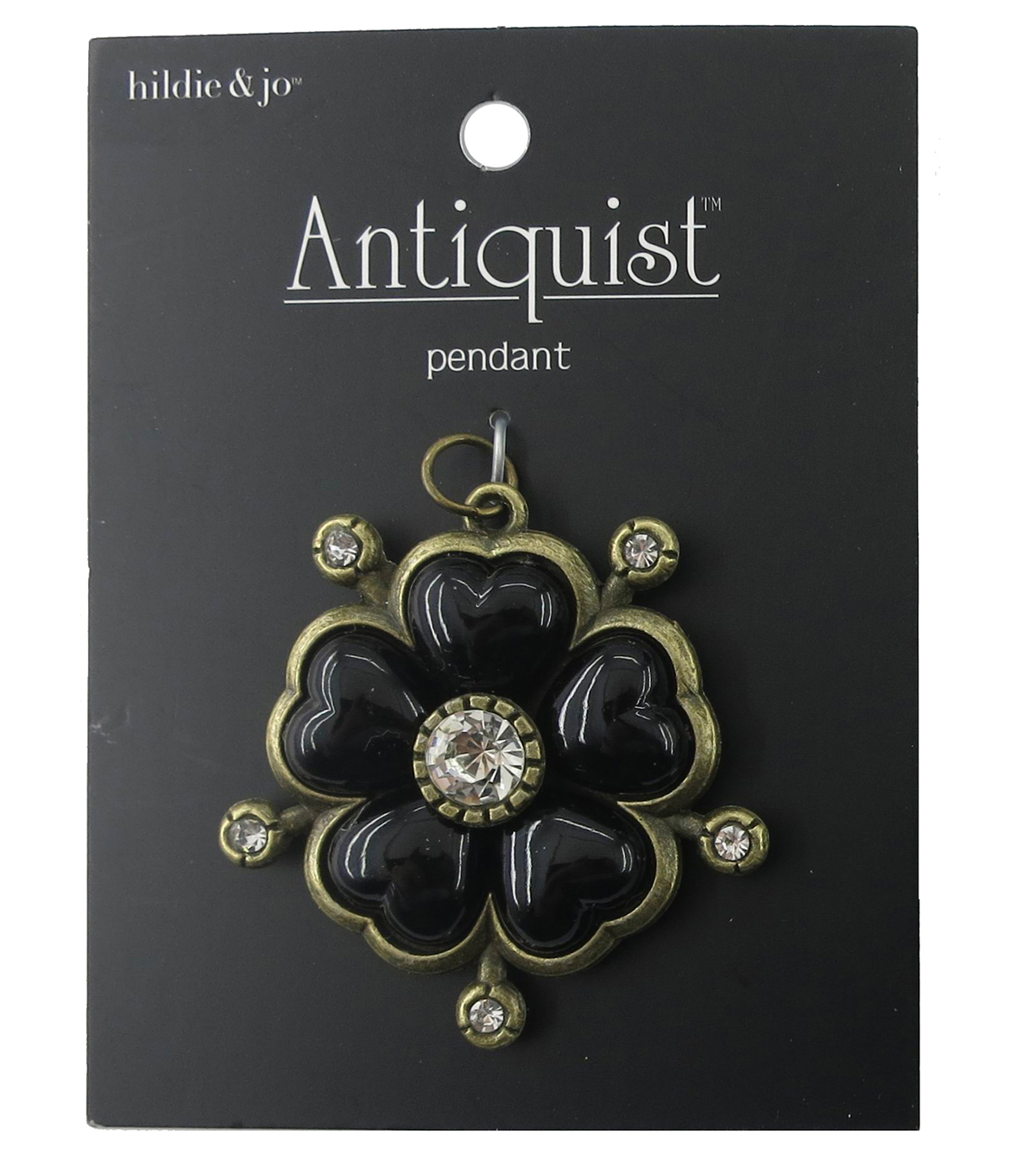 hildie & jo Flower Antique Gold Pendant-Black & Clear Crystals