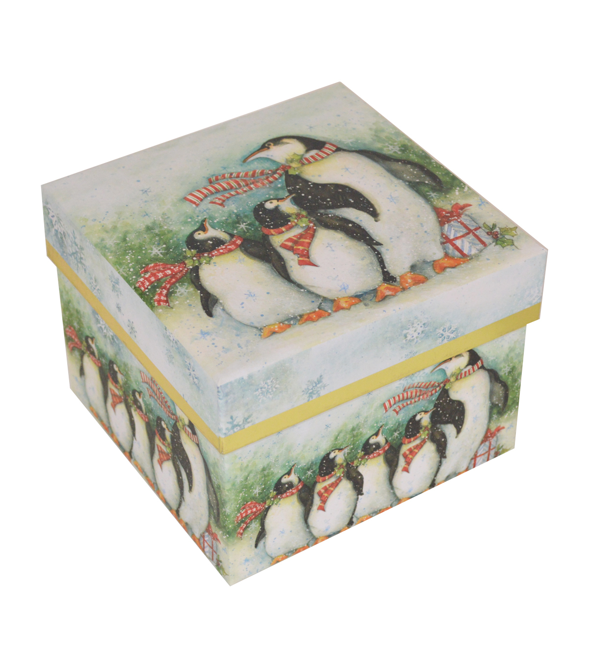 Maker\u0027s Holiday Medium Square Storage Box-Penguin