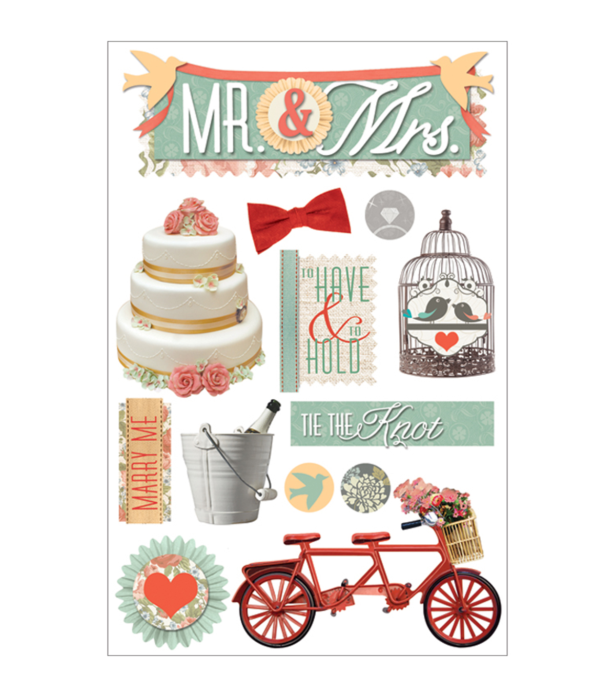 Paper House 3D Stickers-Mr. and Mrs.