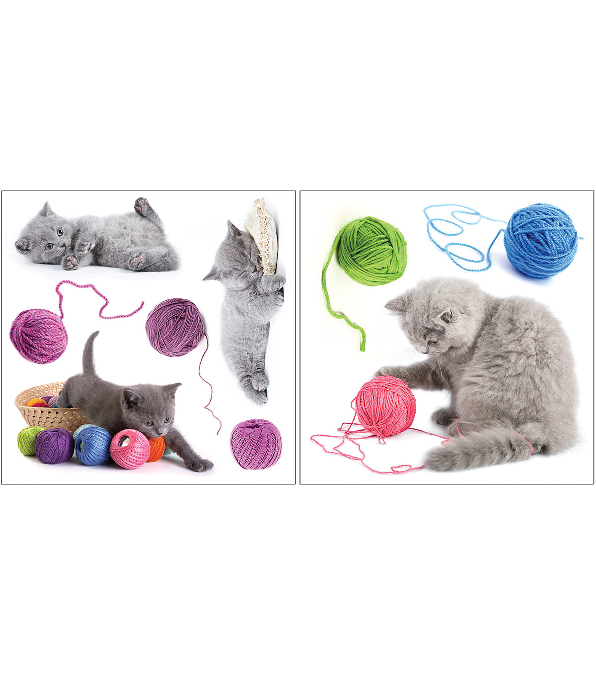 Home Decor Playful Cats Wall Stickers, 9 Piece Set