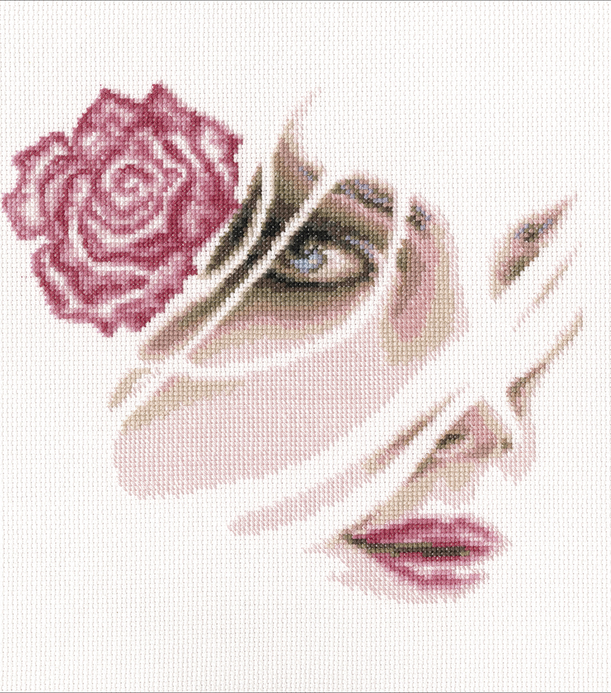 Coral Rose Counted Cross Stitch Kit 14 Count