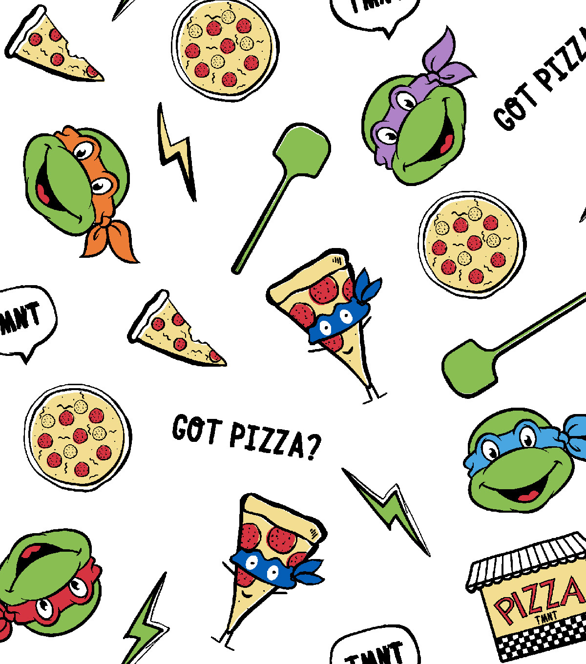 "Teenage Mutant Ninja Turtles® Flannel Fabric 42""-Pizzas And Turtles"