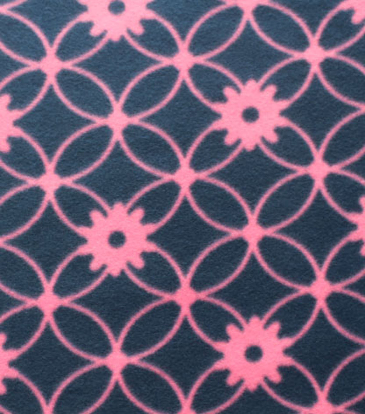 Blizzard Fleece Fabric - Navy Pink Floral Links