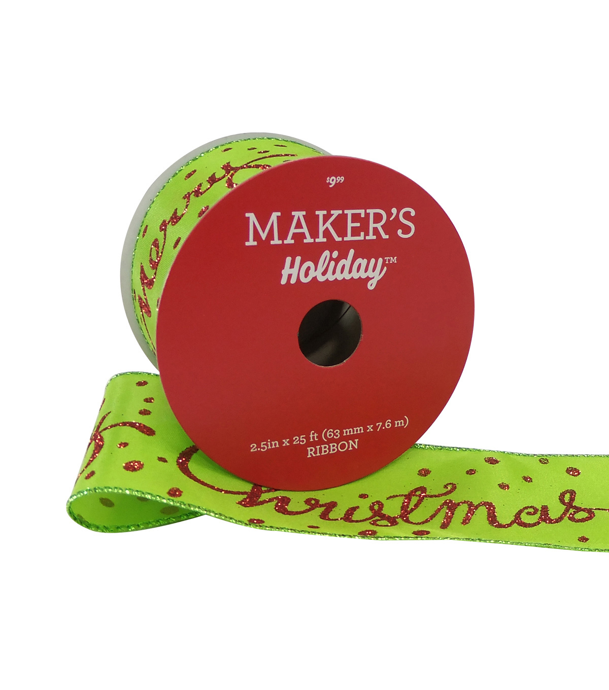 Maker's Holiday Christmas Ribbon 2.5''x25'-Red Merry Christmas on Green