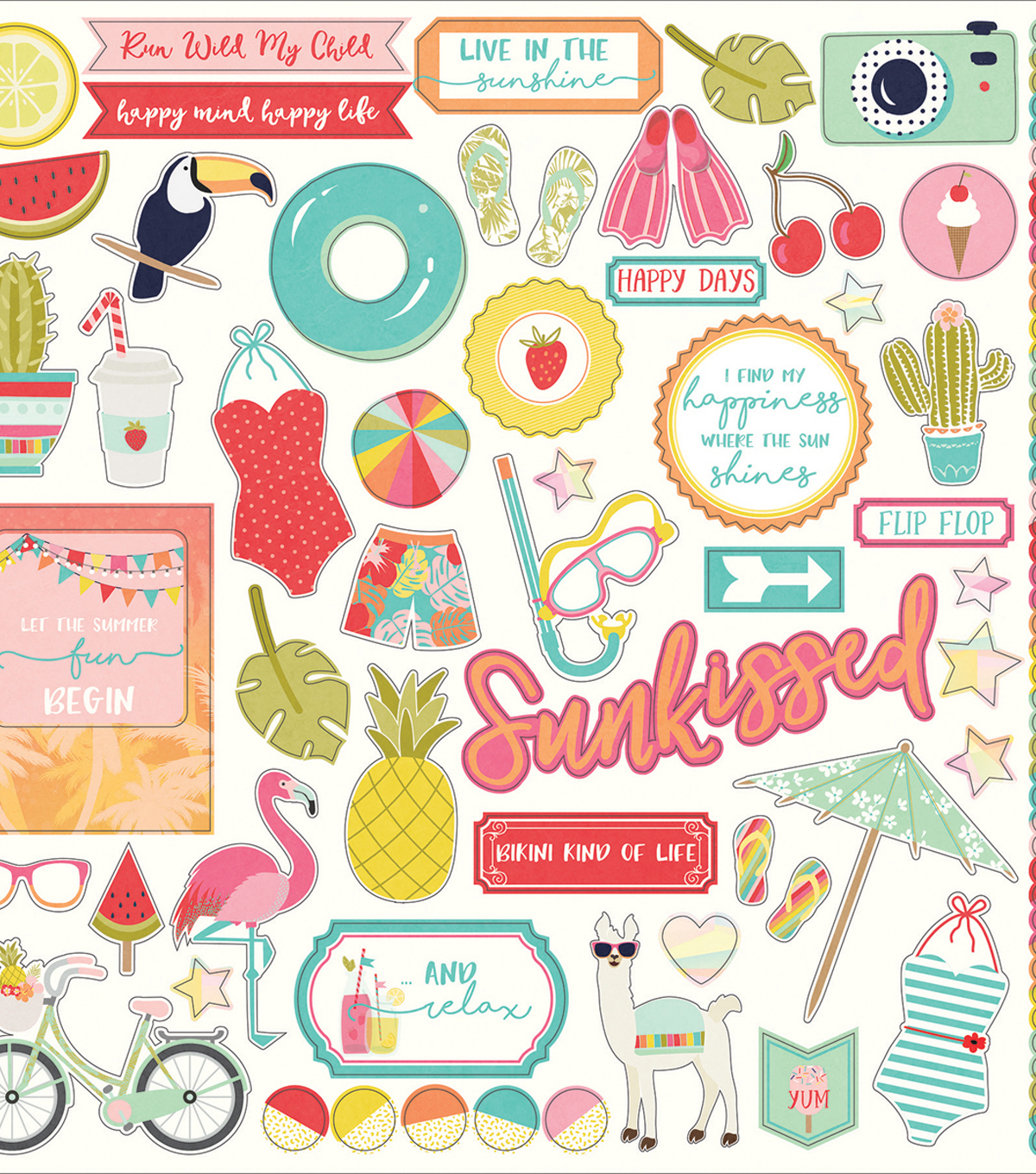 For The Love Of Summer Stickers 12\u0022X12\u0022-Elements