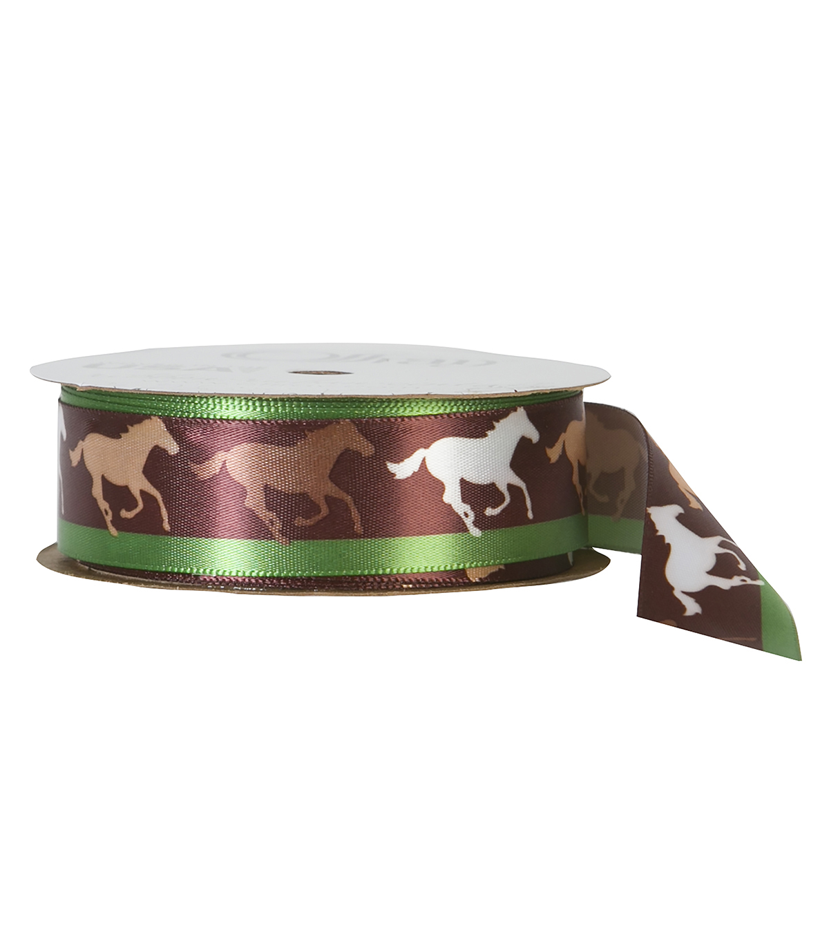 Offray 7/8\u0022x9\u0027 Horse Silhouette Animal Single Faced Satin Ribbon-Brown