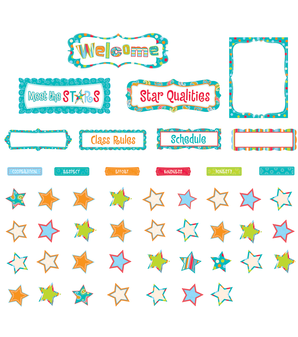 Dots-On-Turquoise Collection: Our Class Stars Dots Bulletin Board Set