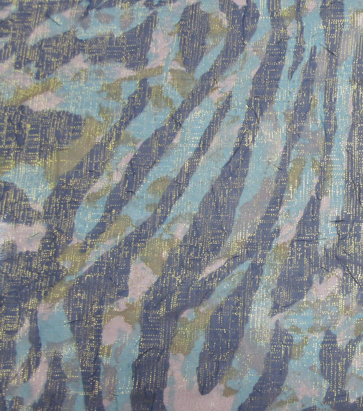 Simply Silky Print Fabric Animal Green Navy Gold Foil Crinkle Chiffon