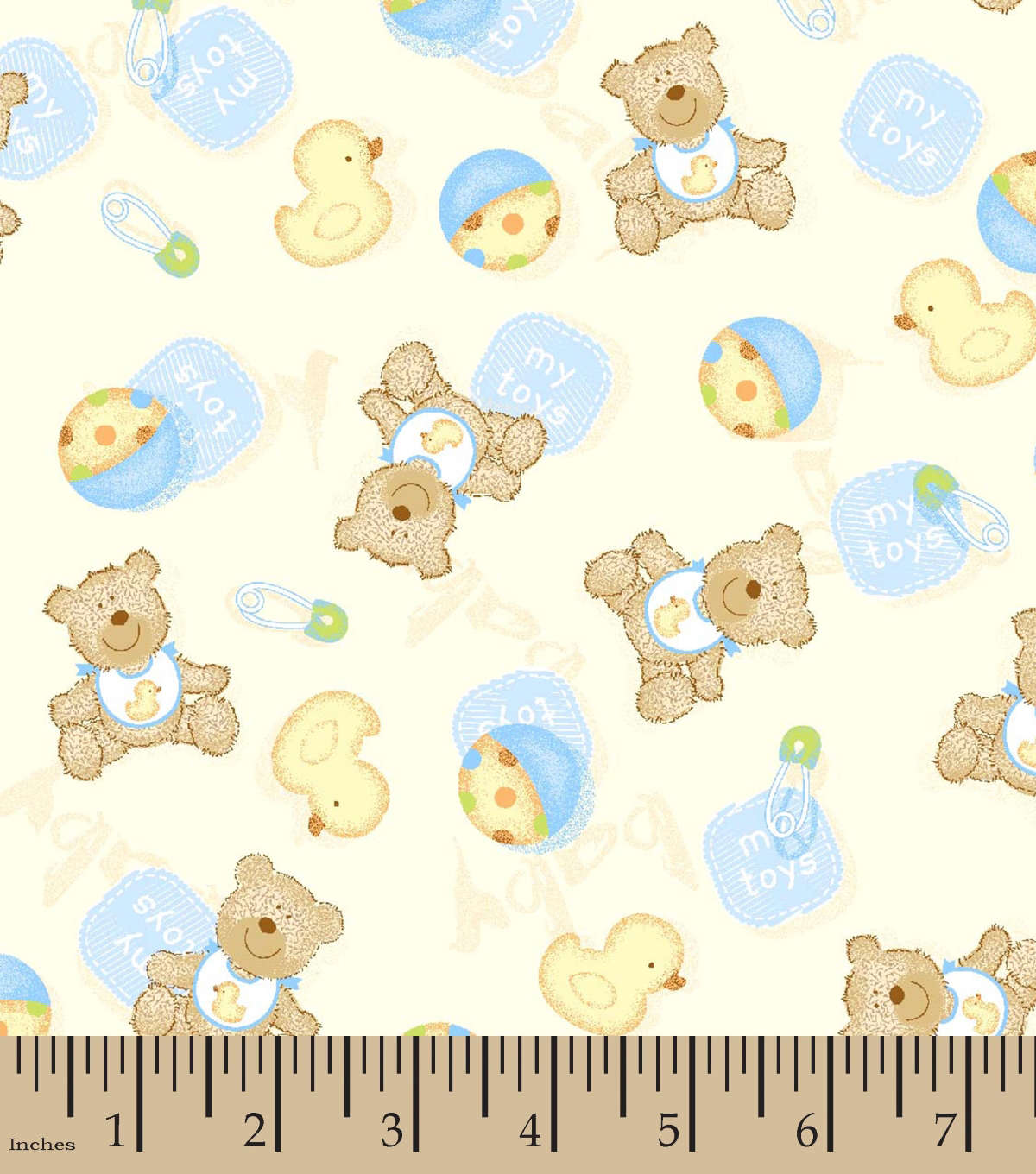 Snuggle Flannel Fabric 42\u0027\u0027-Baby Bear & Ducky