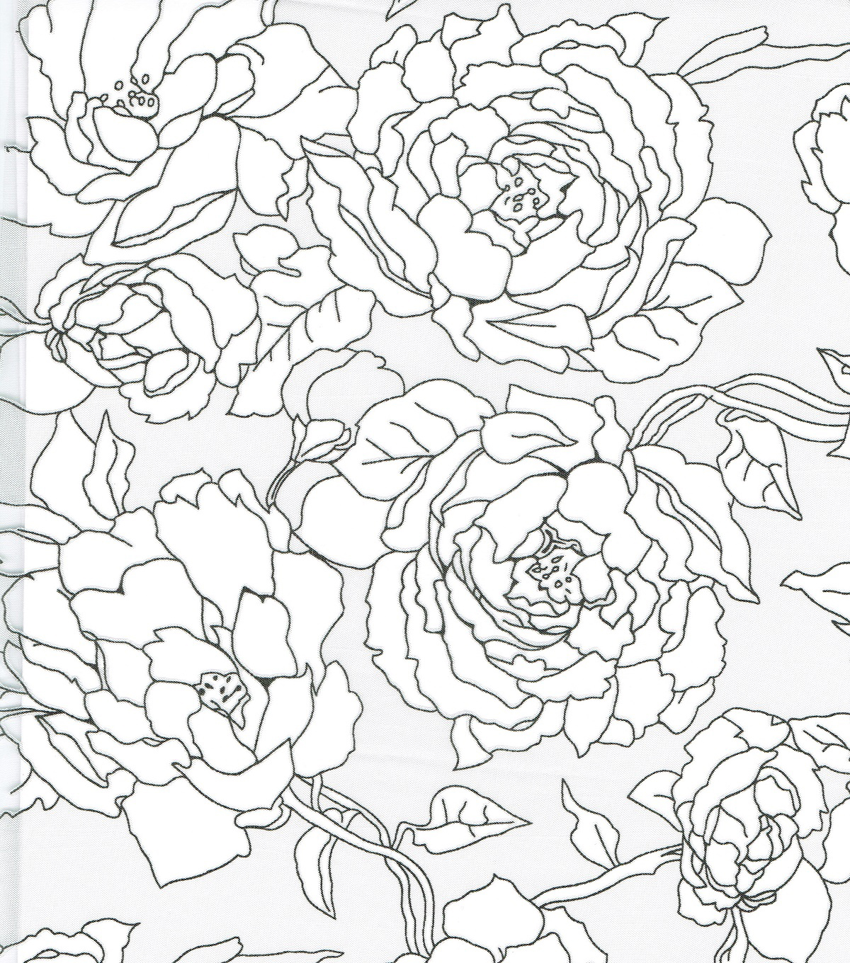 All That Glitters Rose Burnout Organza Fabric-Black/White