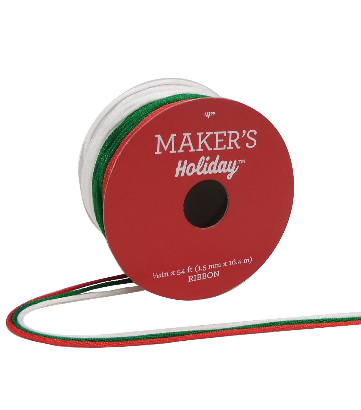 Maker\u0027s Holiday Christmas Satin Ribbons 1/16\u0027\u0027X54\u0027-Red, White & Green
