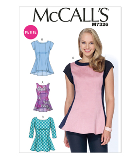 McCall Pattern M7326-A50 Misses\u0027/Miss Petite Fit and Flare Tops-6-8-10-12-14