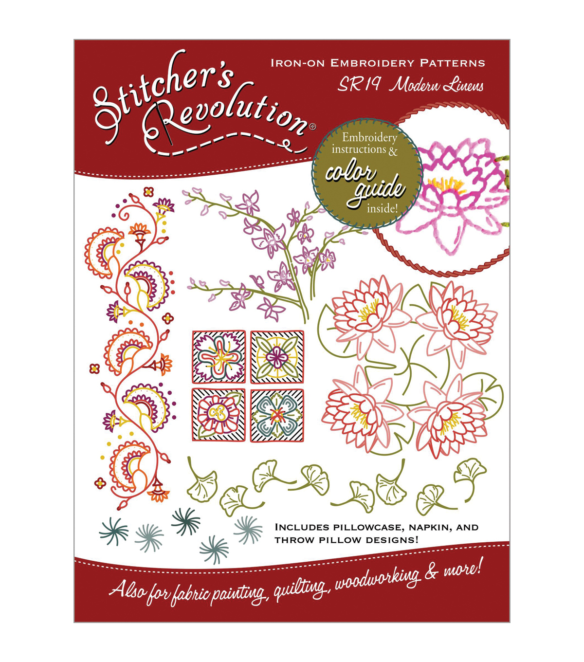 Stitcher's Revolution Iron-On Transfers- Modern Linens