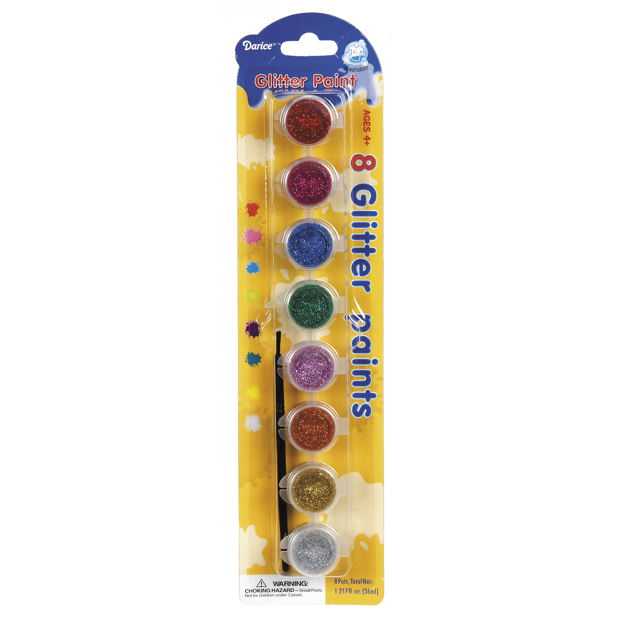 Glittery Paint Pot Pack, 8-Pack w/Brush