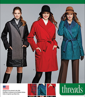 Simplicity Patterns Us1015H5-Simplicity Miss/Petite Coat/Jacket Threads Magazine-6-8-10-12-14