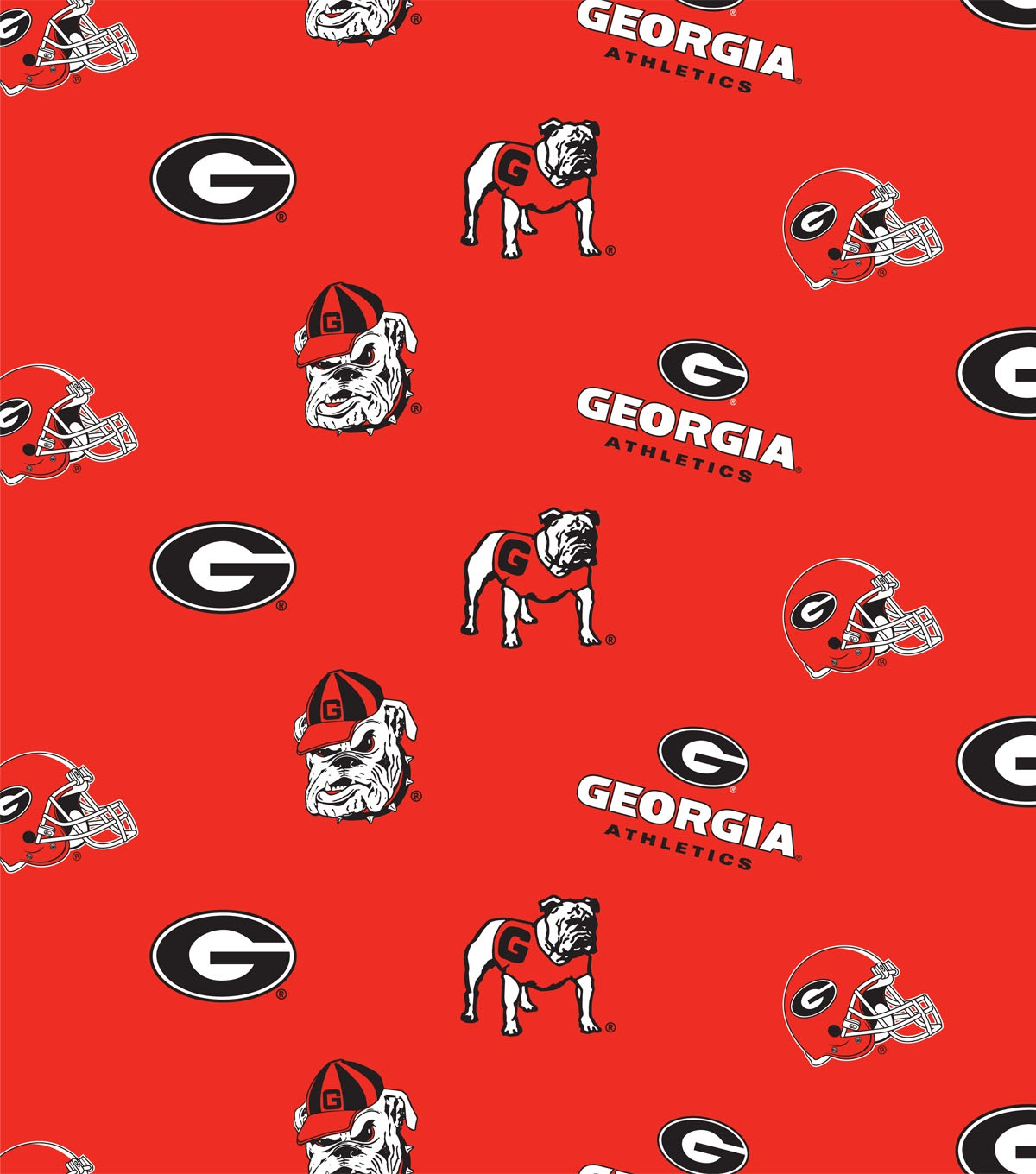 "University of Georgia Bull Dogs Cotton Fabric 43""-Red"