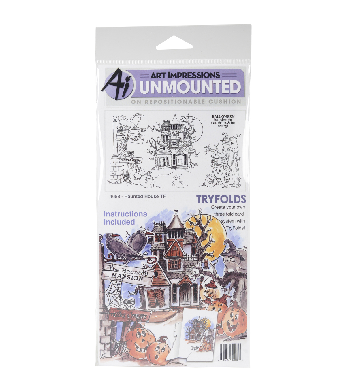 Art Impressions Tryfolds Unmounted Cling Rubber Stamps-Haunted House