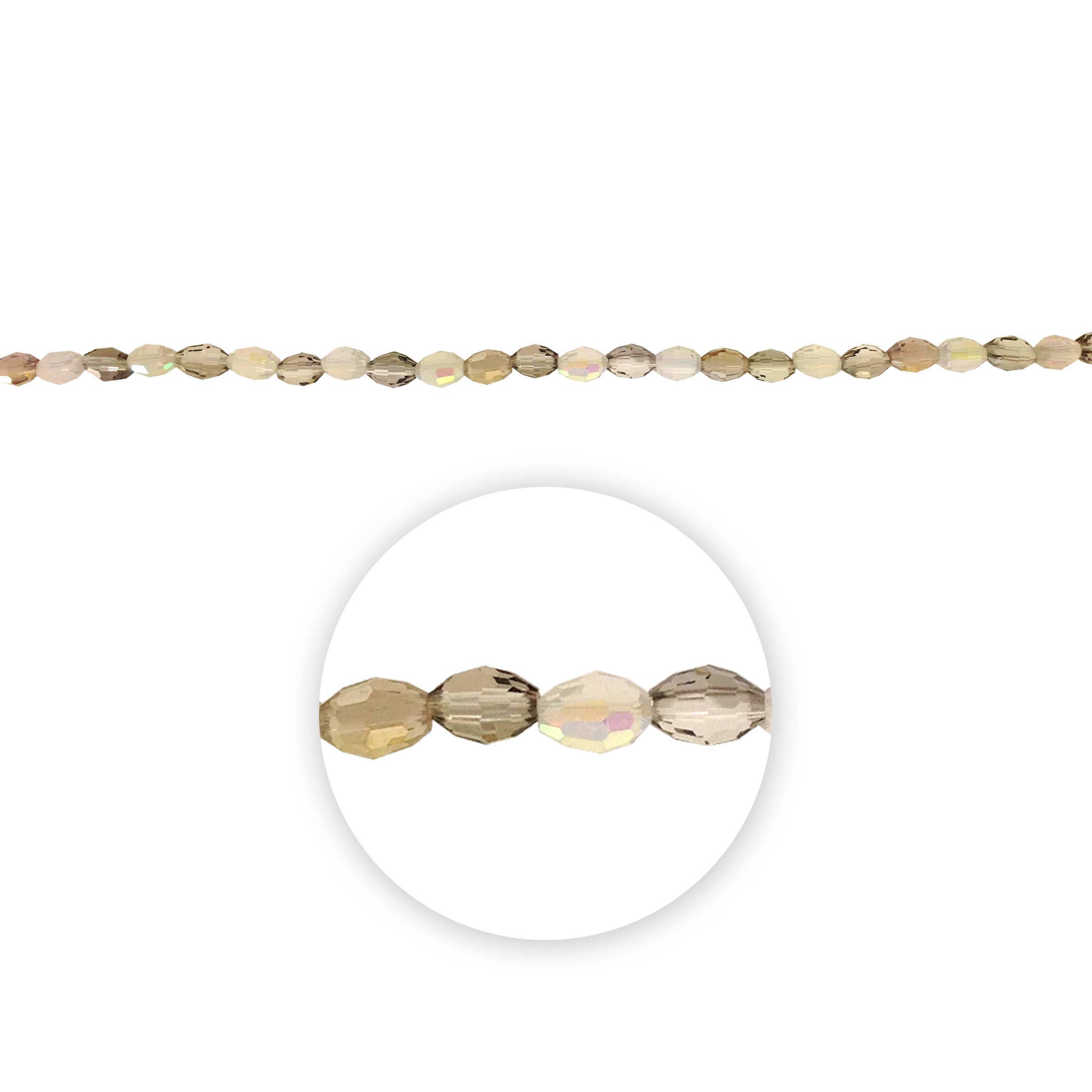 Blue Moon Beads 7\u0022 Crystal Strand, Oval Shape, Smoky Tones