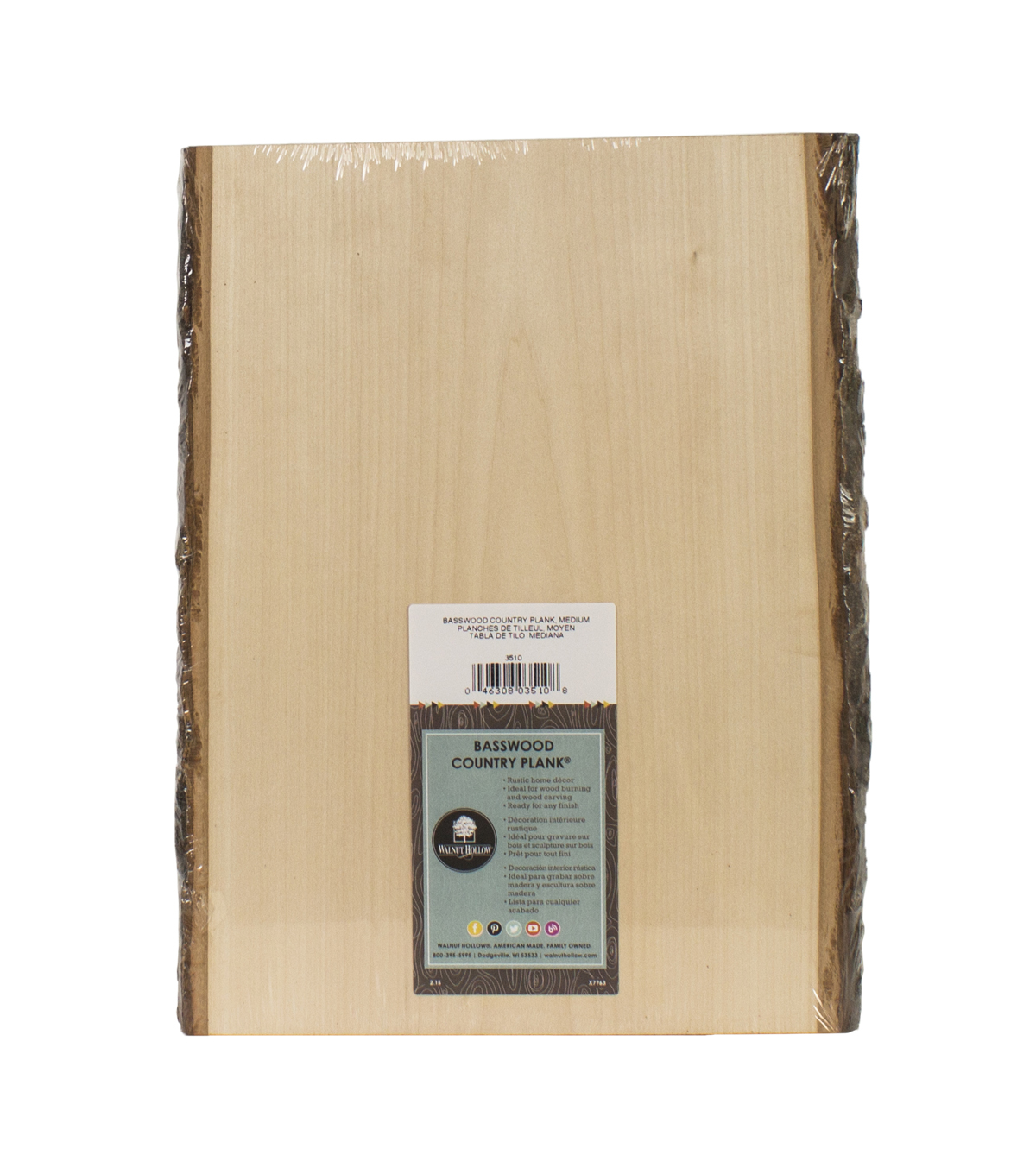 Basswood Country Rectangle Plank-9\u0022 To 11\u0022x13\u0022