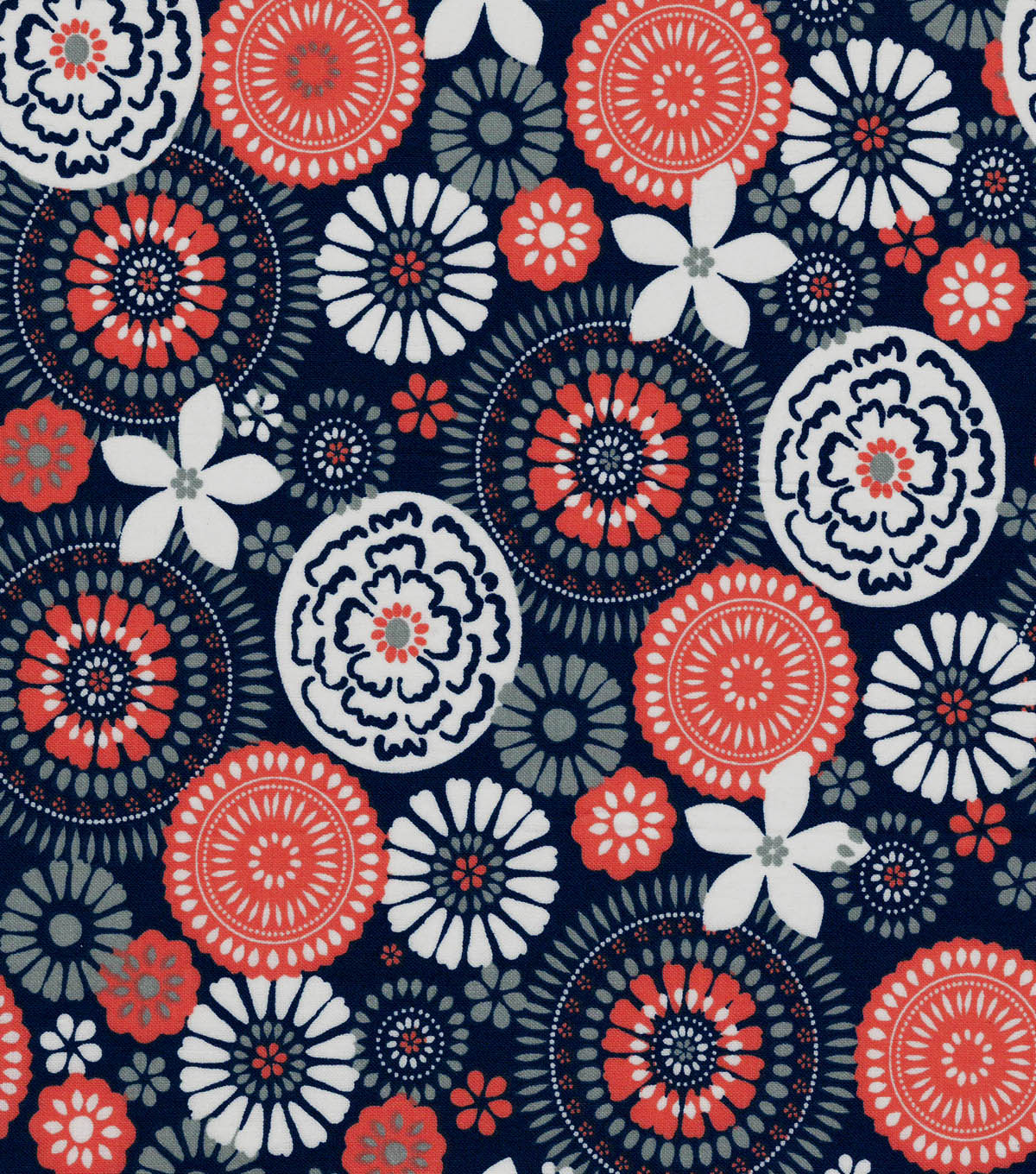 Quilter\u0027s Showcase® Fabric 43\u0027\u0027-Fusion Floral & Medallion on Navy