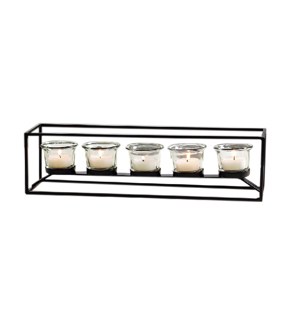Pack of 5 Metal Tealight Holders with Clear Glass 15\u0027\u0027x4\u0027\u0027