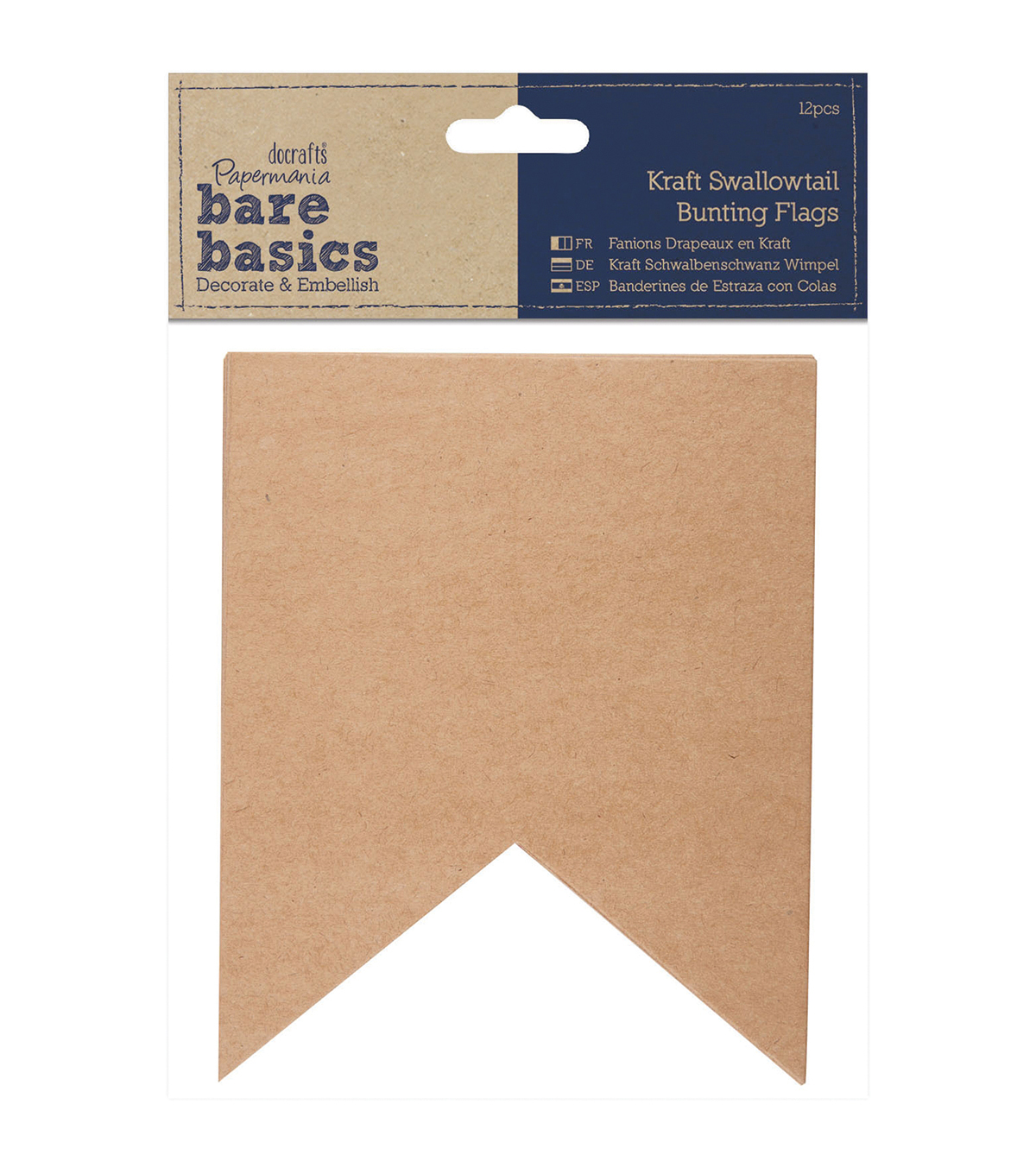 Papermania Bare Basics Swallowtail Bunting Kraft Pennant Flags