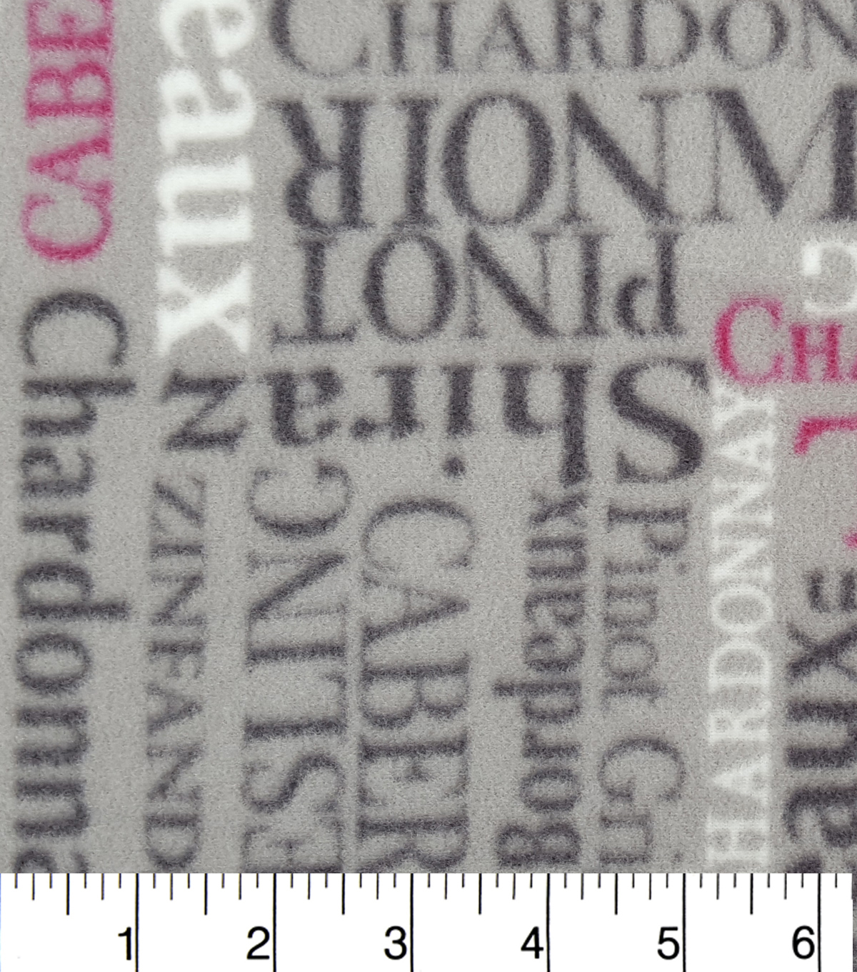 "Anti-Pill Fleece Fabric 59""-Wine Words"