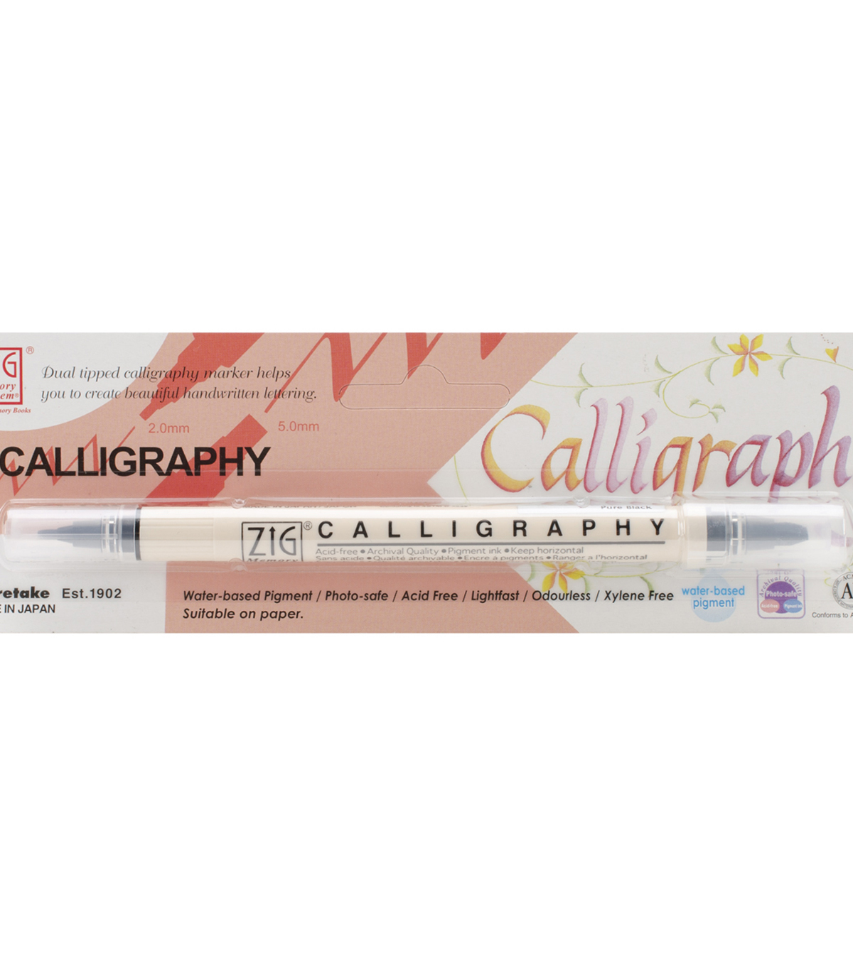 Zig Memory System Calligraphy Dual-Tip Marker (Packaged)-Pure Black