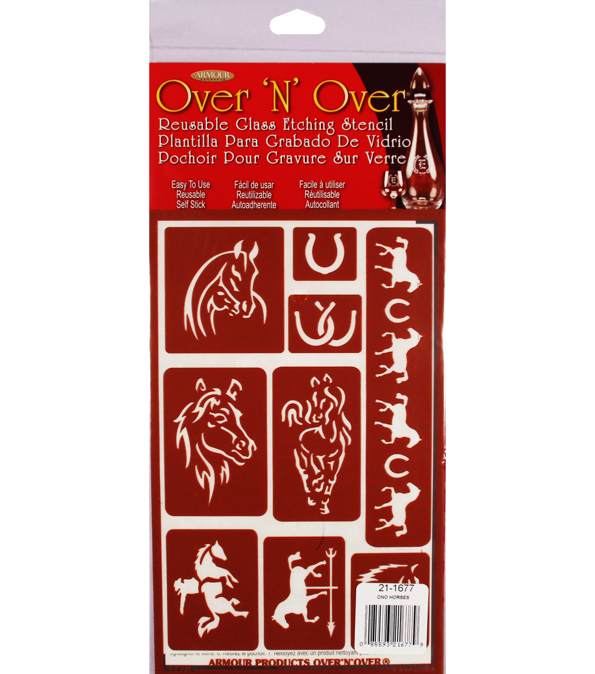 Armour Products Over \u0027N\u0027 Over Reusable Glass Etching Stencil-Horses