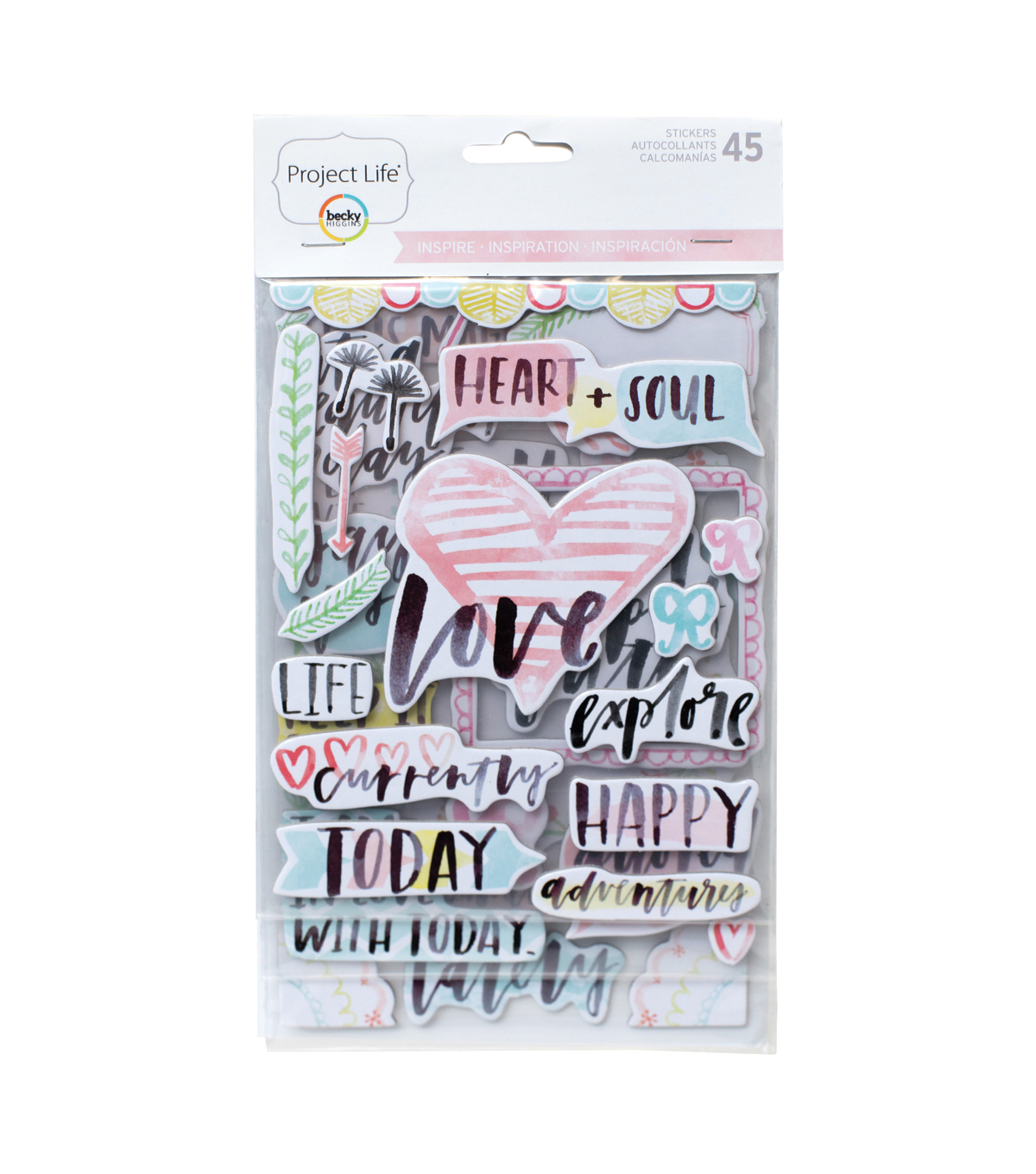 Project Life 45 pk Chipboard Stickers-Inspire Edition