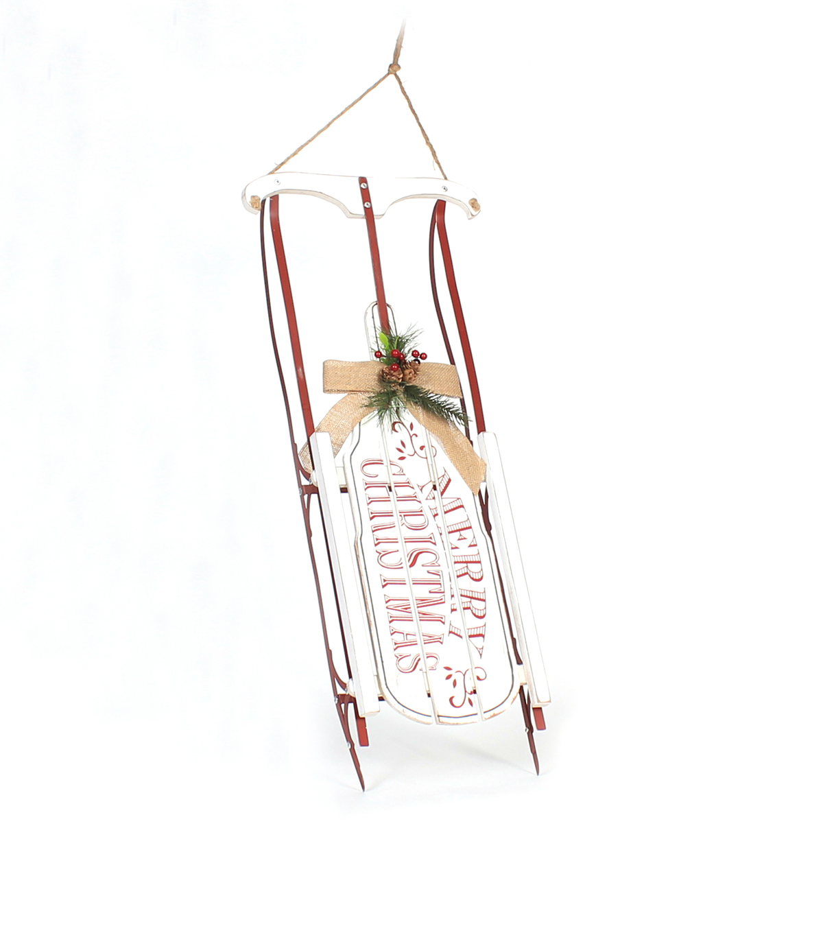 Maker\u0027s Holiday Christmas Large Sled with Hanger-Merry Christmas