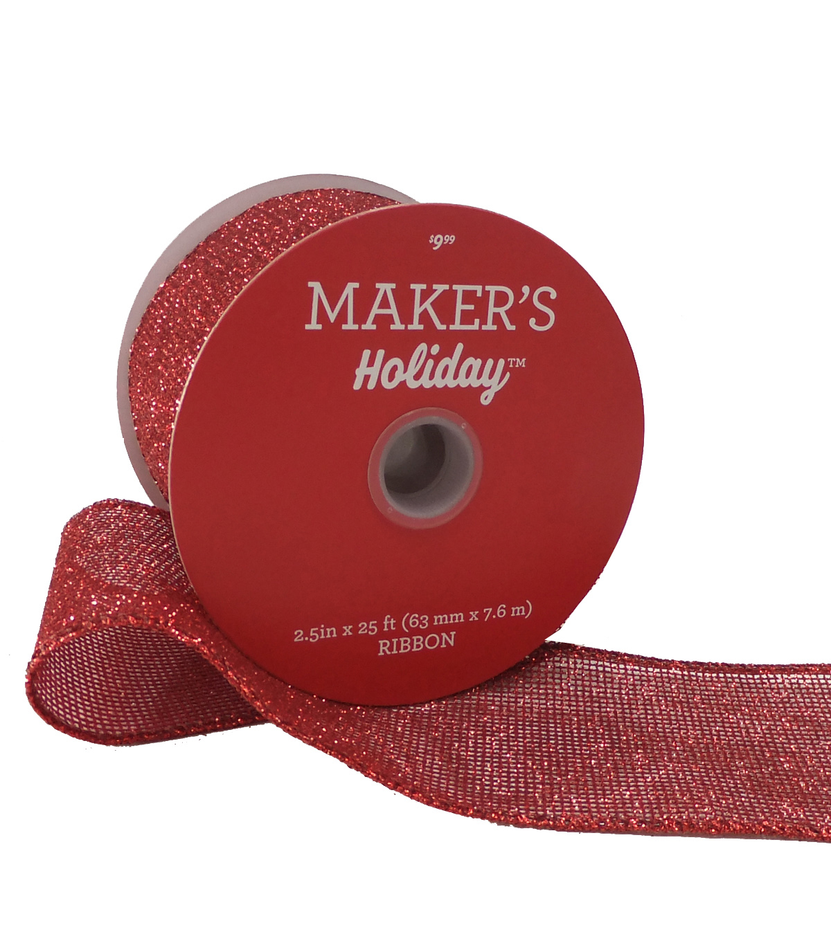 Maker's Holiday Christmas Glitter Ribbon 2.5''x25'-Red