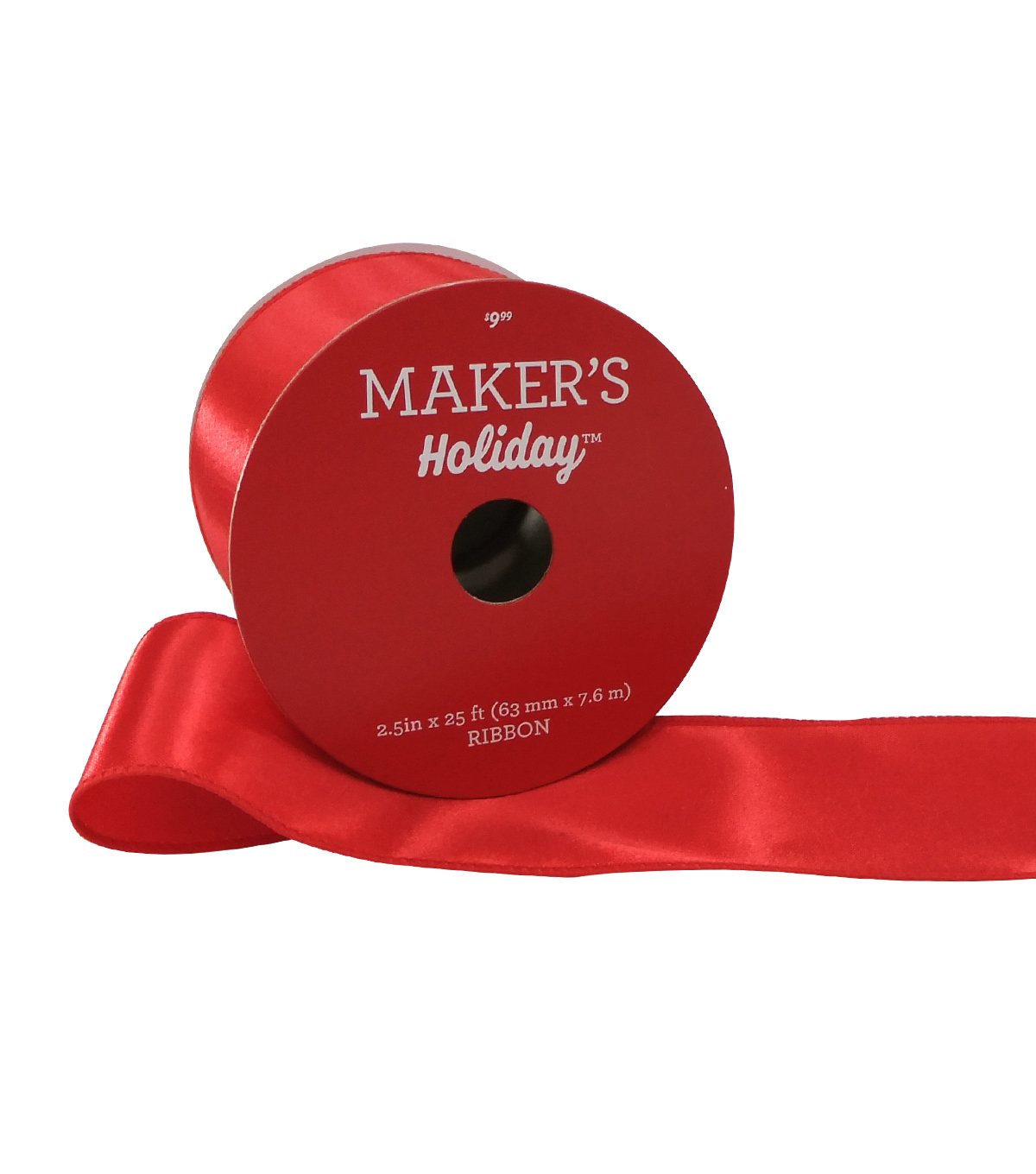 Maker's Holiday Christmas Satin Ribbon 2.5''x25'-Red