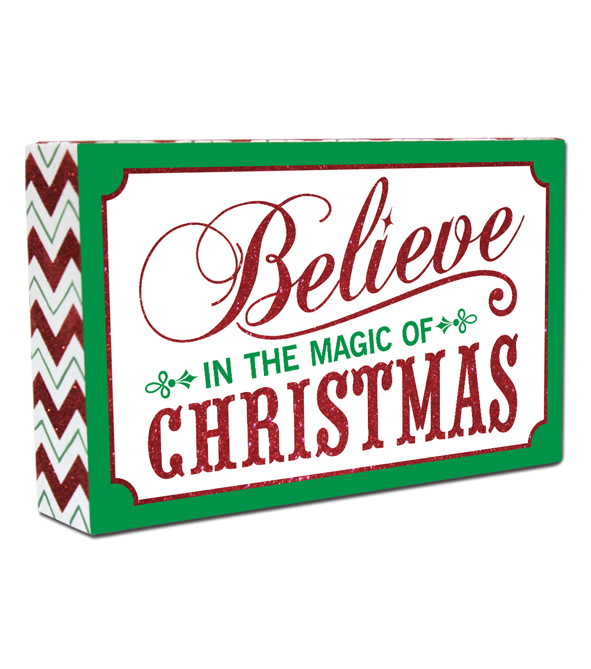 Maker\u0027s Holiday Table Decor Block-Believe Magic