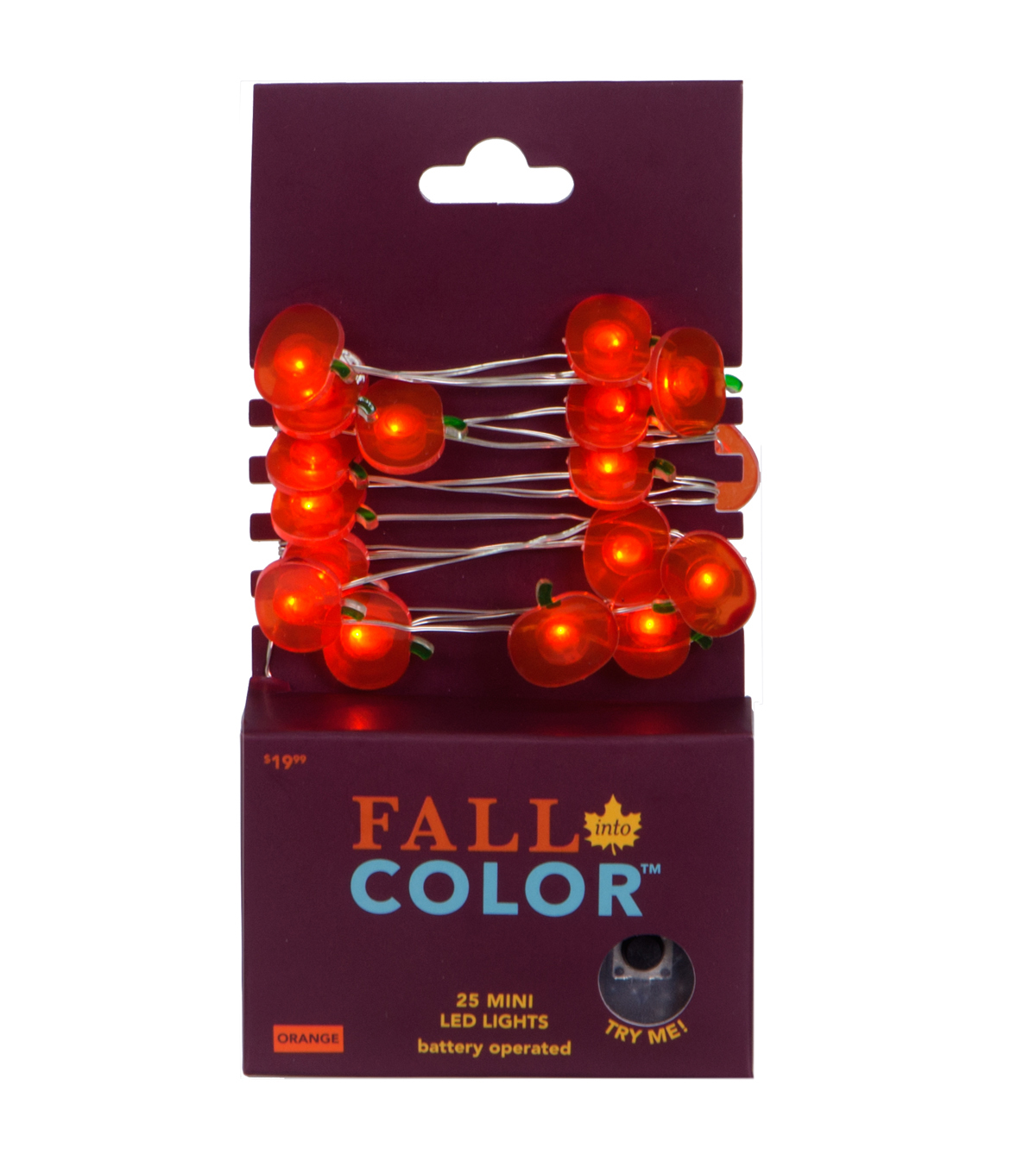 Fall Into Color 25 Count Pumpkin LED Lights with Silver Wire