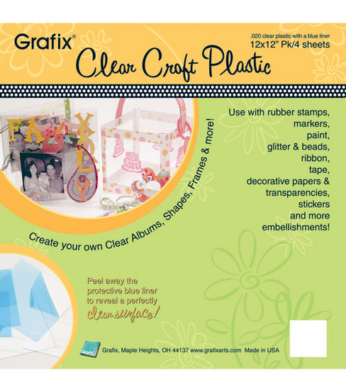 Grafix 12\u0022x12\u0022 .020 Plastic Sheets-4PK/Clear