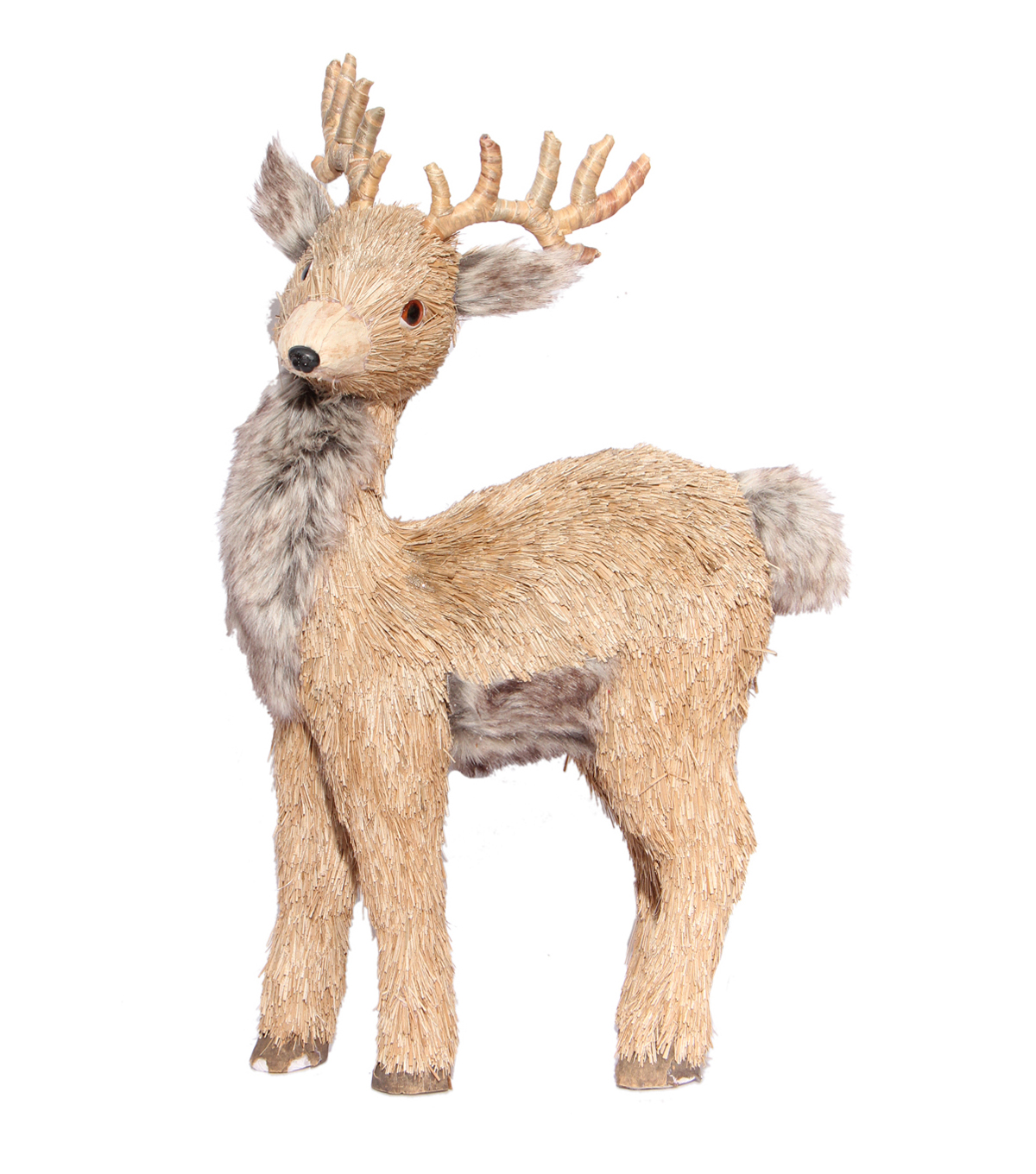 Blooming Holiday Standing Deer With Faux Fur