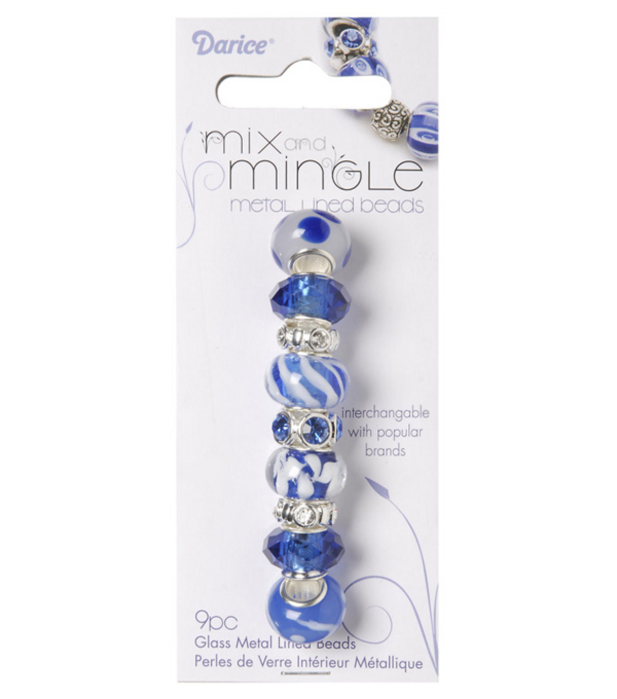 Mix and Mingle Glass Metal Lined Beads-Blue/White